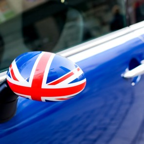 British Patriotism shown on car mirror